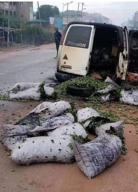 Sit-at-home: Hoodlums set vehicle conveying food items ablaze in Enugu