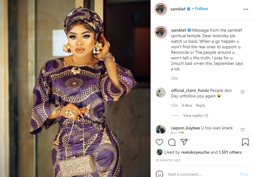 Bobrisky watch your back, try and reconcile because the bad omen this September says a lot - Samklef