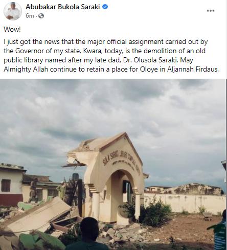 Ex-Senate President, Bukola Saraki, reacts in shock as Kwara state govt demolish public library named after his late father