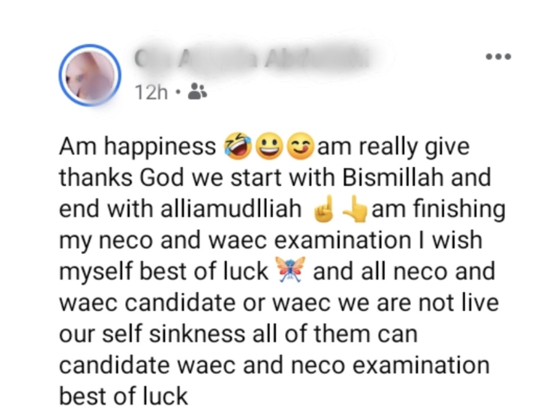 """""""Am happiness"""" - Secondary school student writes as he celebrates end of WAEC exams"""