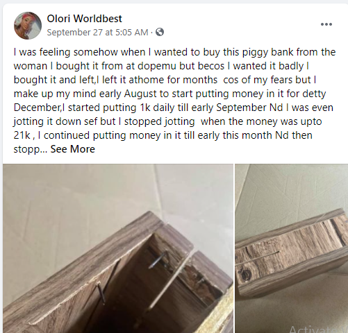 Lady narrates how money she was saving up in a piggy bank mysteriously disappeared 1
