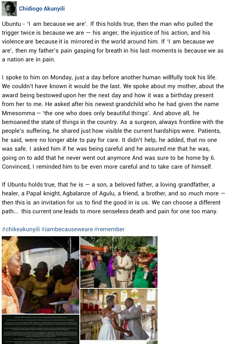 I spoke to him a day before another human willfully took his life - Chidiogo Akunyili Parr mourns her father who was brutally murdered in Anambra
