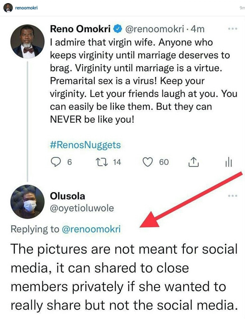 Do you complain when surgically enhanced celebrities who are OAPs by day and small girls with big god by night publicly expose their body parts - Reno Omokri says as he defends virgin bride