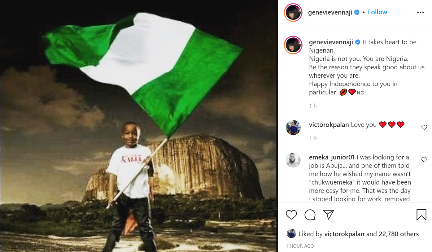 Be the reason they speak good about us wherever you are - Genevieve Nnaji tells Nigerians on Independence day celebration