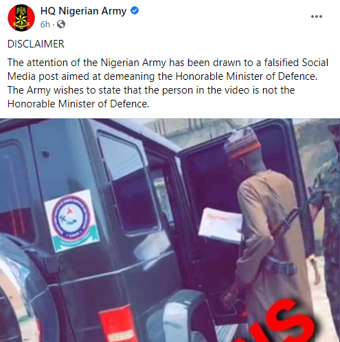 Nigerian Army debunks claims Minister of Defence moves around with AK47