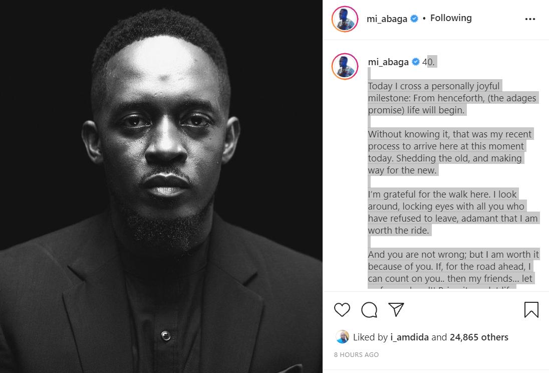 Rapper MI Abaga celebrates 40th birthday