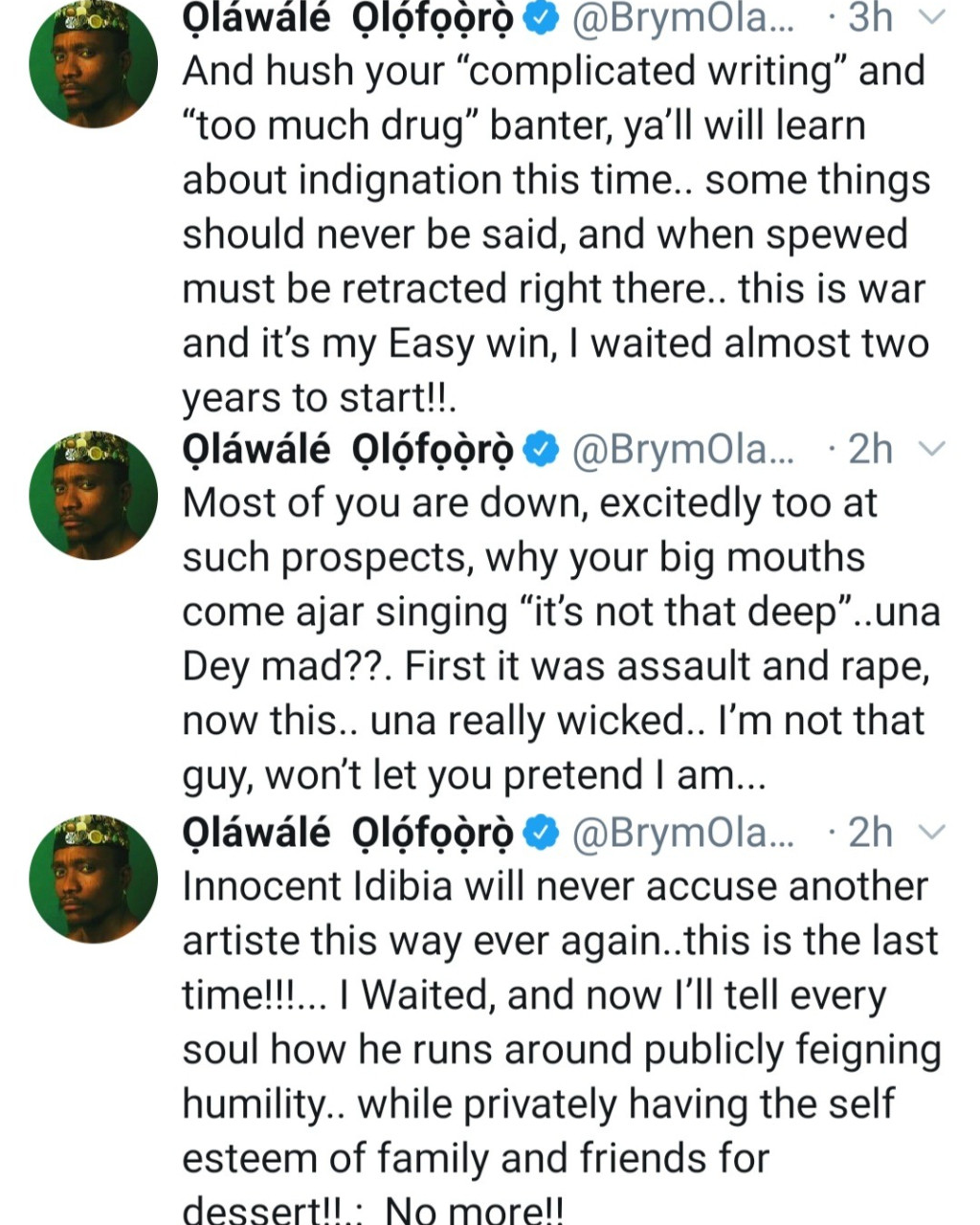 """"""" He runs around publicly feigning humility while privately having the self esteem of family and friends for dessert"""" Brymo continues to call out Tuface Idibia"""