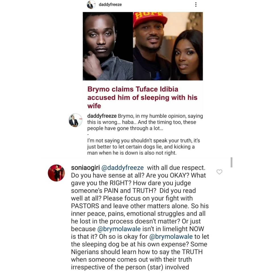 DaddyFreeze responds after actress Sonia Ogiri attacked him for berating Brymo