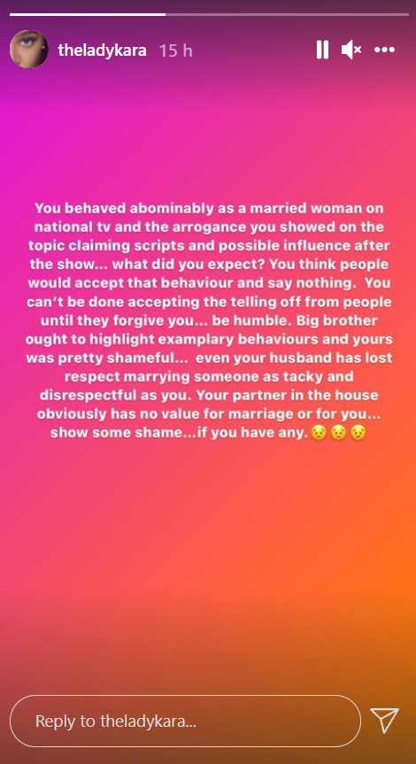 You behaved abominably as a married woman on national TV and showed arrogance, your husband has lost respect for marrying you - Talent manager, Lady Kara tackles Tega after she cried out on being bullied