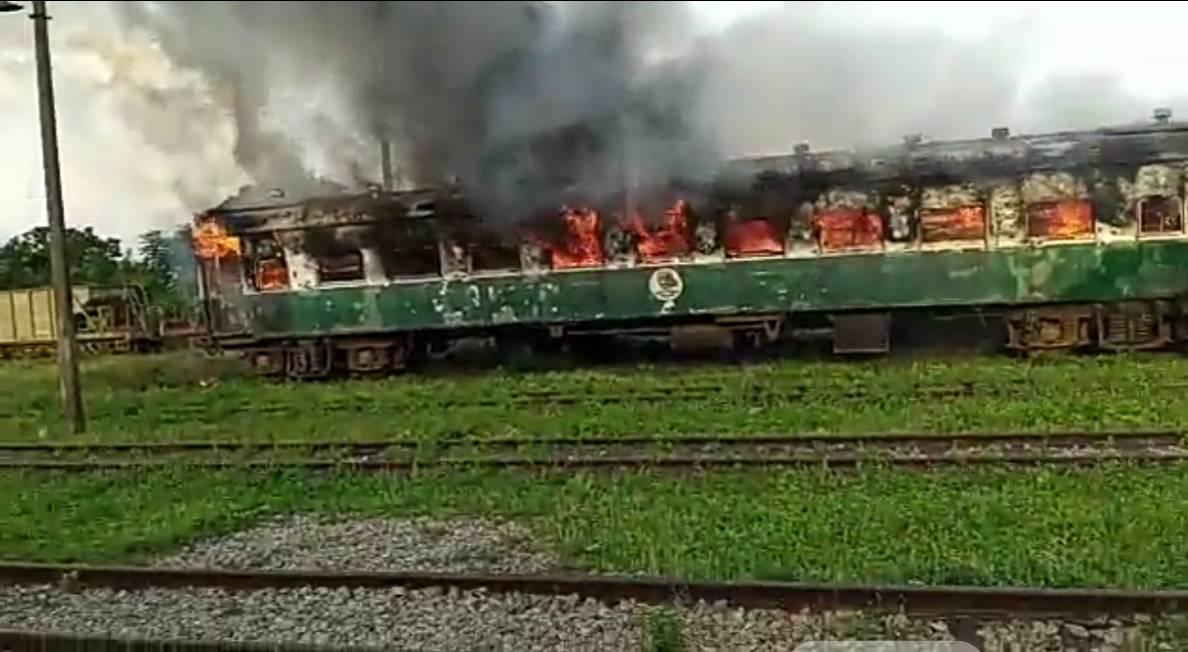 Hoodlums set Kano-bound train ablaze at railway station in Kwara