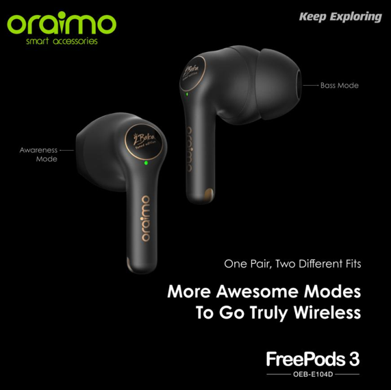 oraimo FreePods3 comes with a first of its kind feature