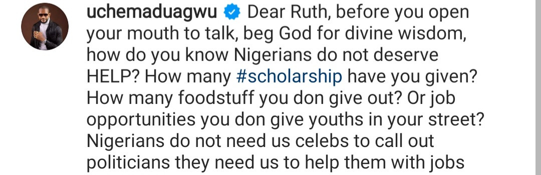 Before you open your mouth to talk, beg God for divine wisdom - Actor Uche Maduagwu tackles Ruth Kadiri after she said Nigerians don