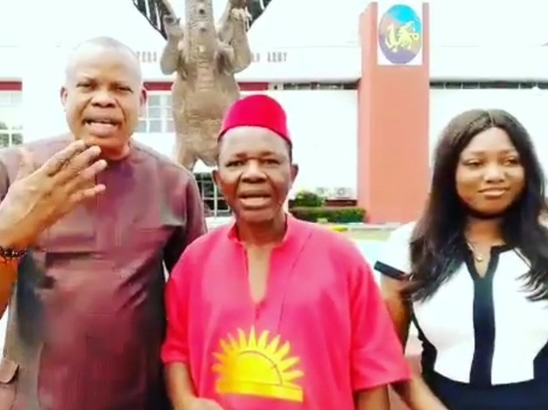 Video of veteran actor, Chiwetalu Agu, after his release