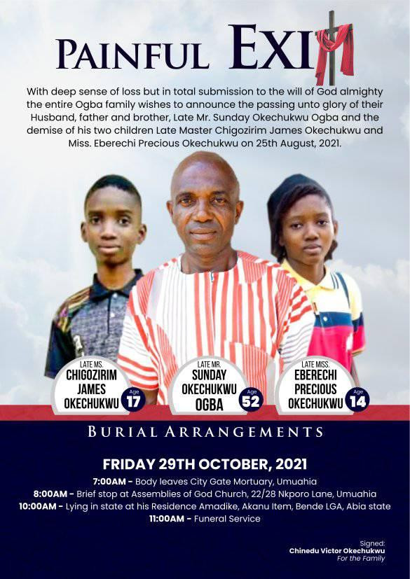 Obituary of father and his two children who died after having dinner in Abia state