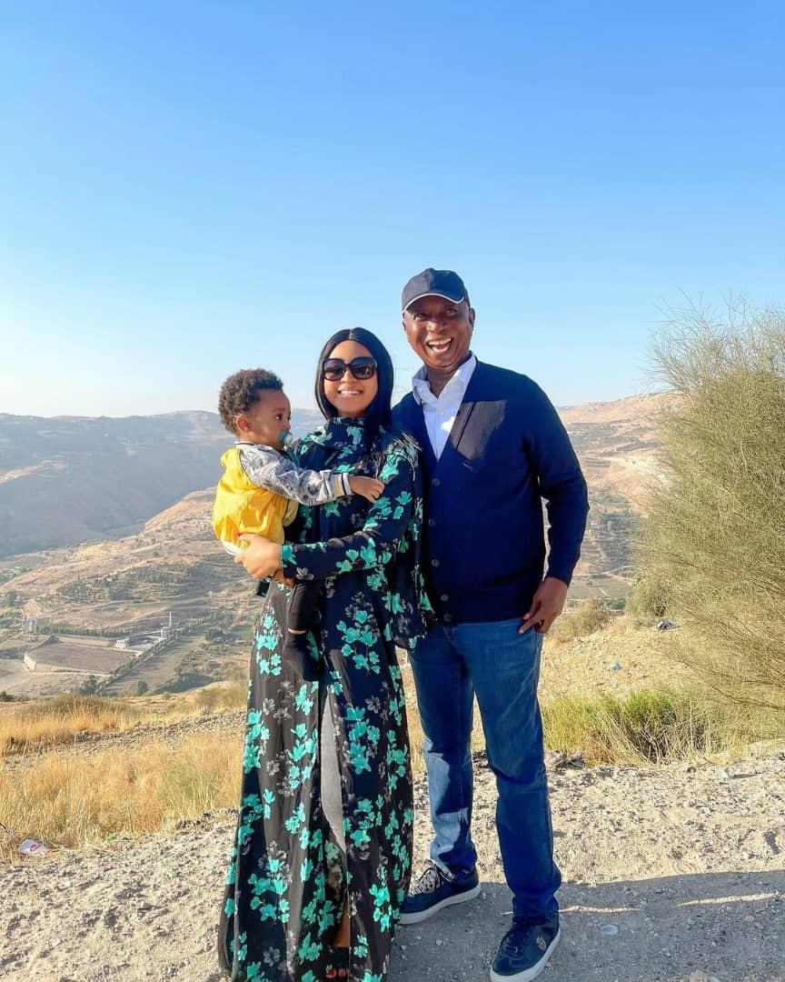 Actress Regina Daniels celebrates her birthday with her husband, Ned Nwoko and son, Munir (video)
