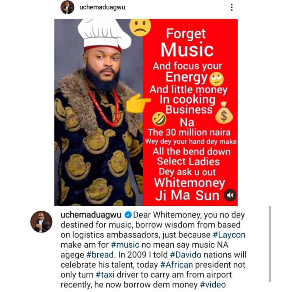You are not destined for music. Focus your energy on cooking- actor Uche Maduagwu tells BBNaija winner, Whitemoney