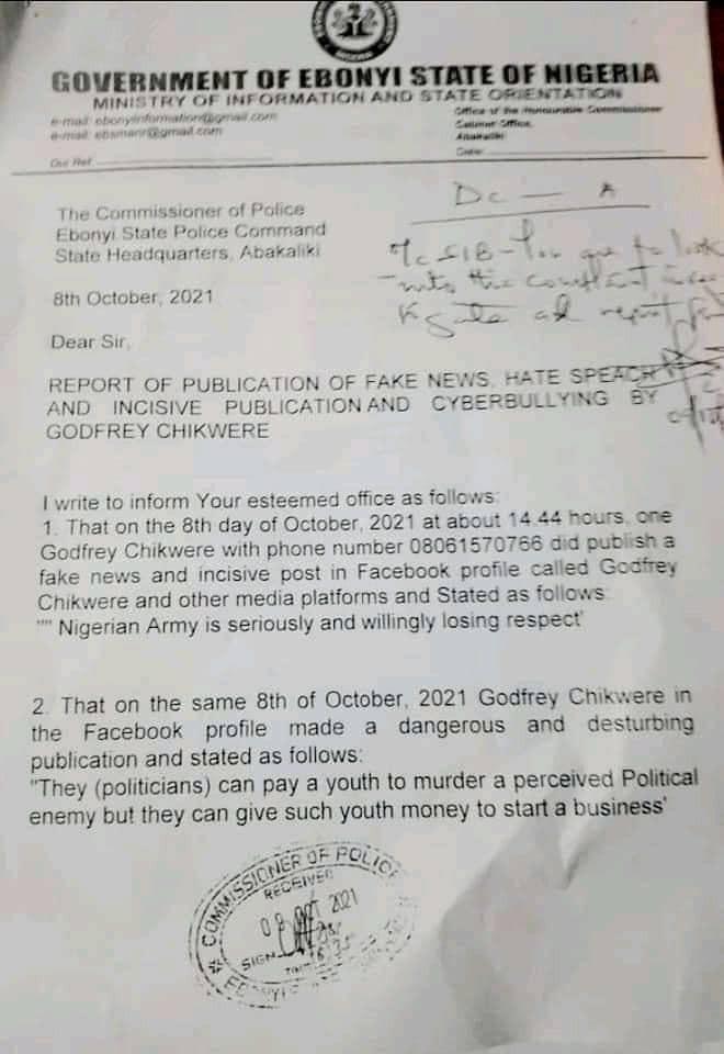 Ebonyi Governor, David Umahi orders arrest of journalist over alleged