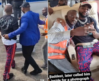 Davido invites airport staff inside his private jet to take a picture with him after his bodyguard shoved him away