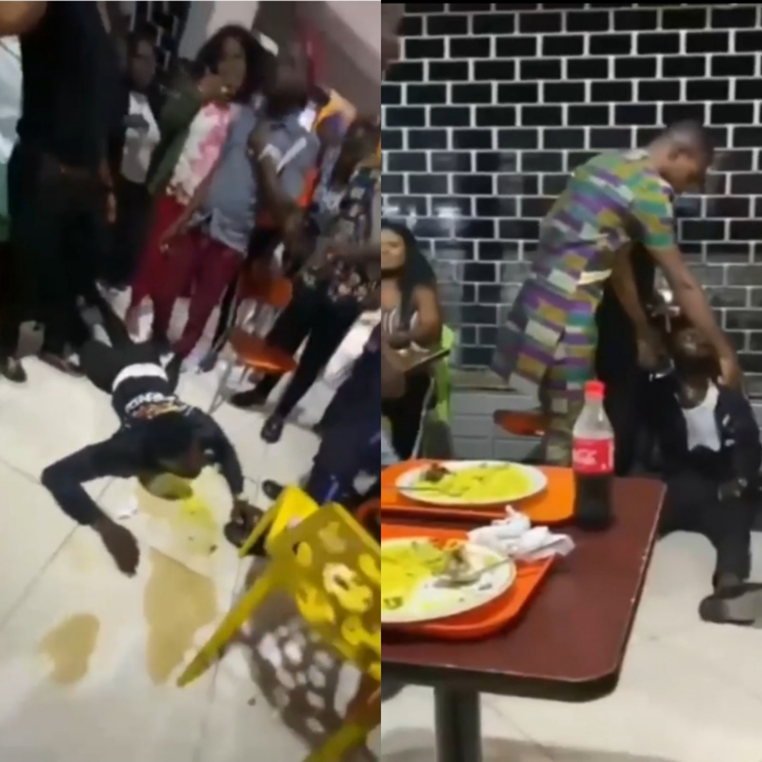 Man begins throwing up after he was forced to consume a friend's drink that he was allegedly caught p*isoning (video)