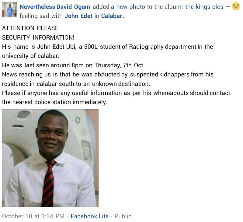 Gunmen kidnap two final year UNICAL students