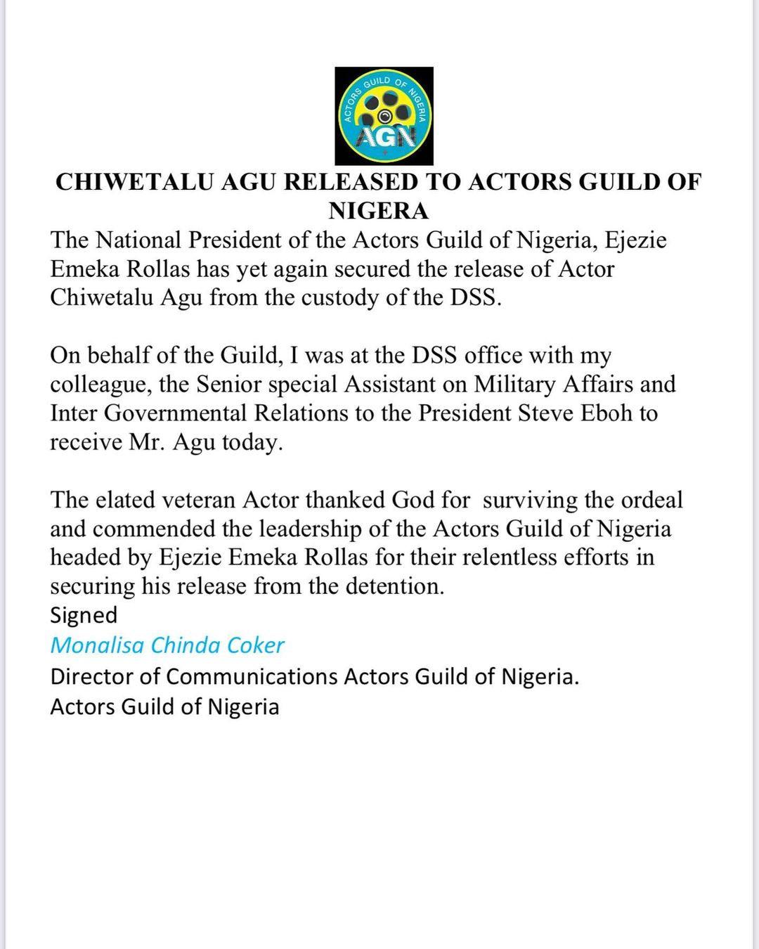 Update: Actor Chiwetalu Agu released from DSS custody