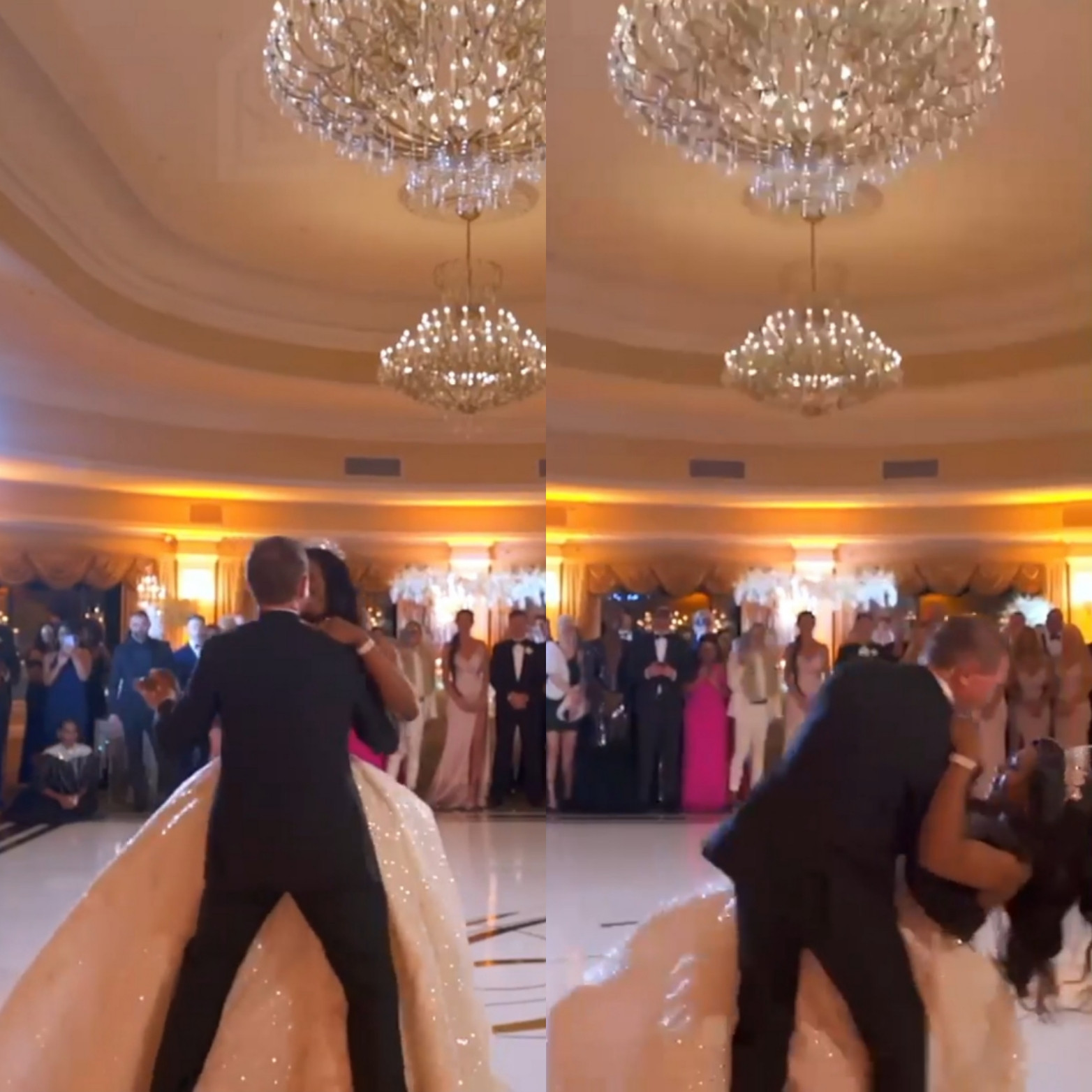 Couple suffer embarrassing fall during first dance at their wedding (video)