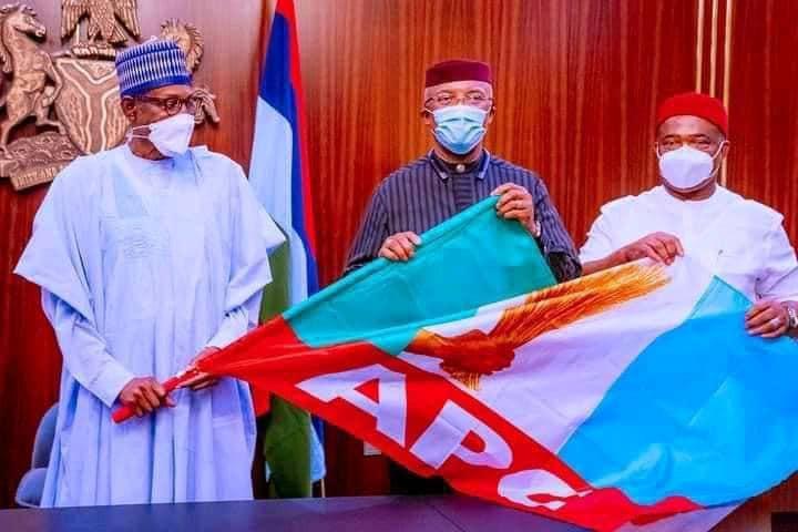 President Buhari receives Anambra deputy governor Nkem Okeke who defected from APGA to APC